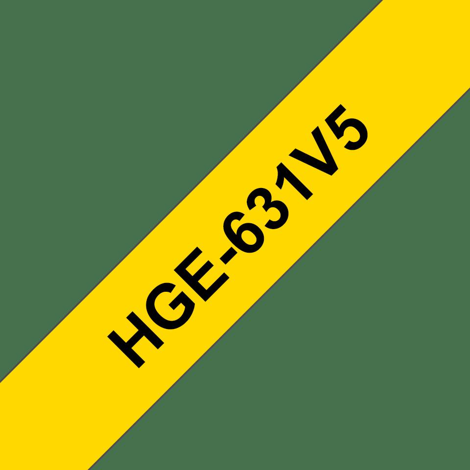 Brother HGe631V5 original laminerad High Grade-tape, svart på gul, 12 mm