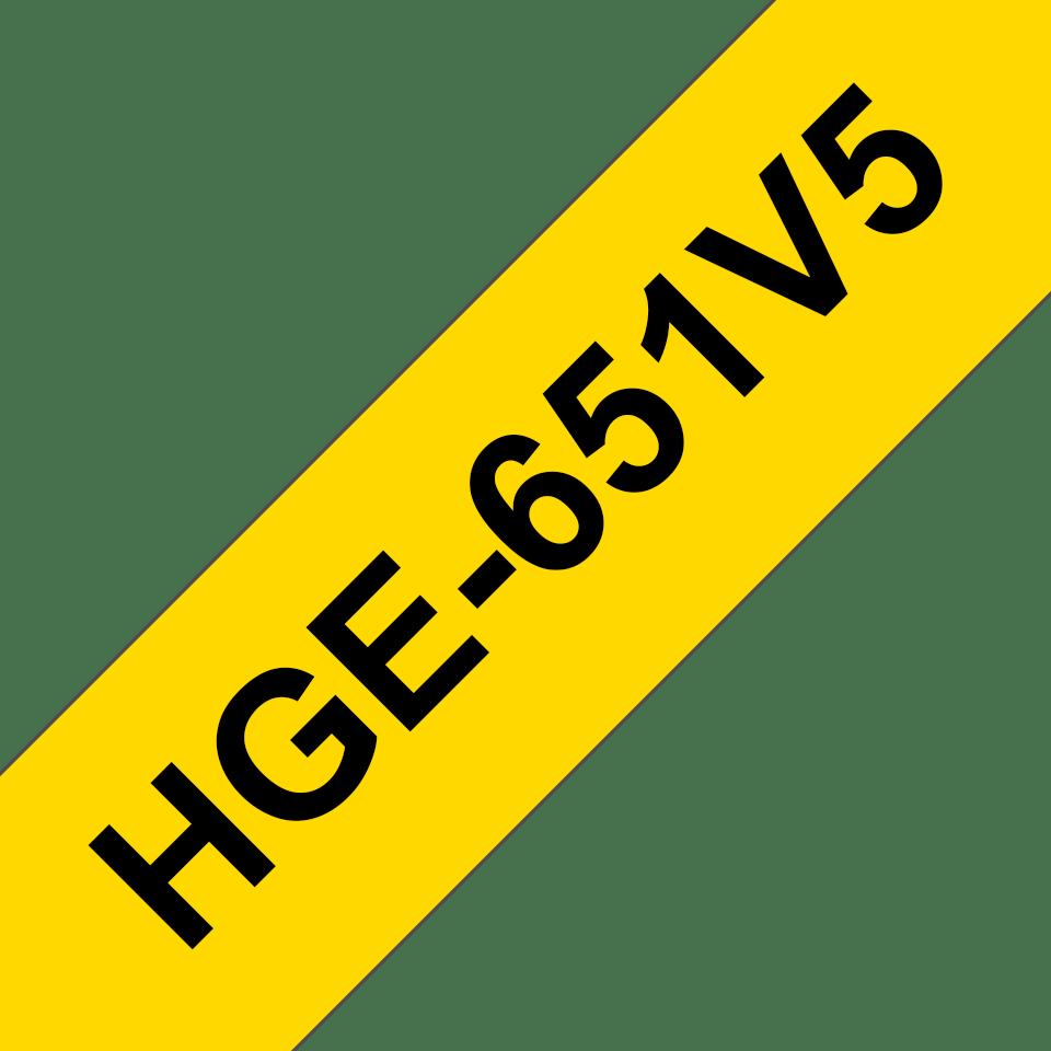 Brother HGe651V5 original laminerad High Grade-tape, svart på gul, 24 mm