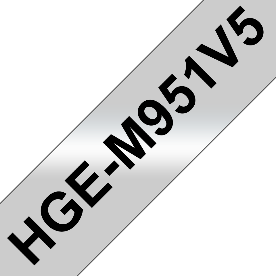 Brother HGe-M951V5 laminerad High Grade-silvertape - svart på matt silver, 24 mm bred
