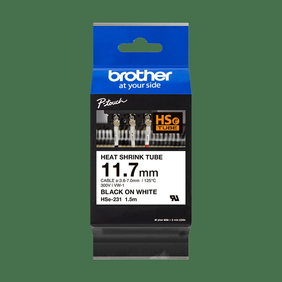 Brother HSe231 original krympslang, svart på vit, 11,7 mm 2