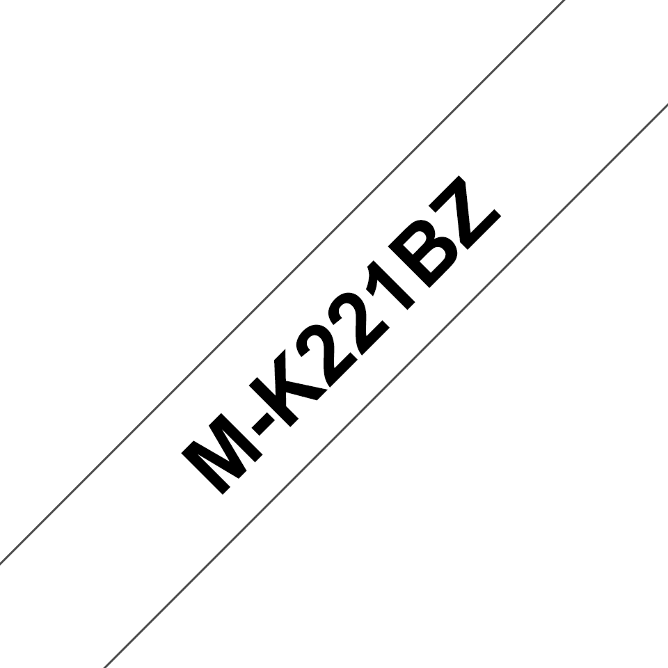 Brother original M-K221BZ M-tape – svart på vit, 9 mm bred