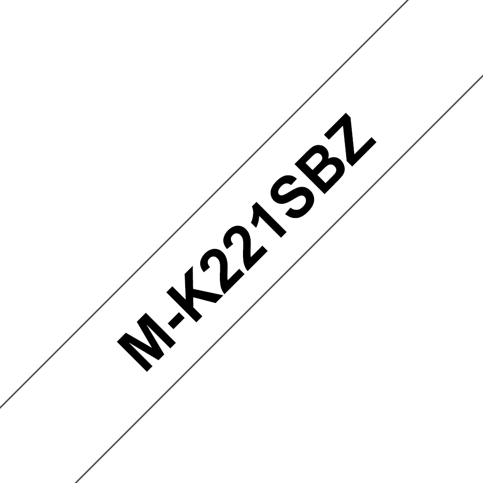 Brother MK221SBZ original M-tape, svart på vit, 9 mm