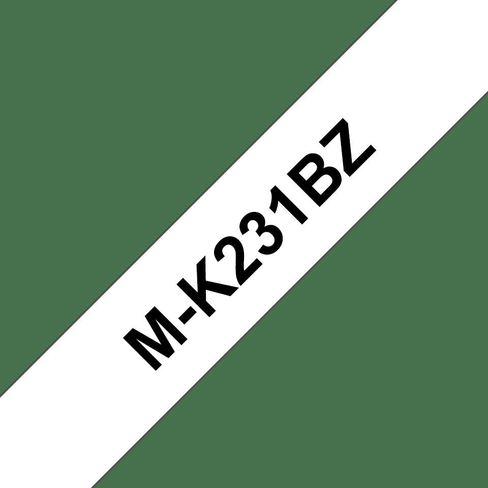 Brother original M-K231BZ M-tape –  Svart på vit, 12 mm bred