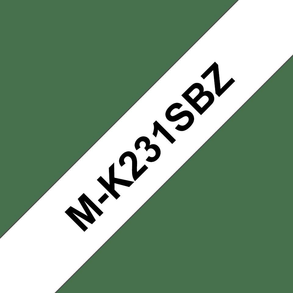 Brother MK231SBZ original M-tape, svart på vit, 12 mm