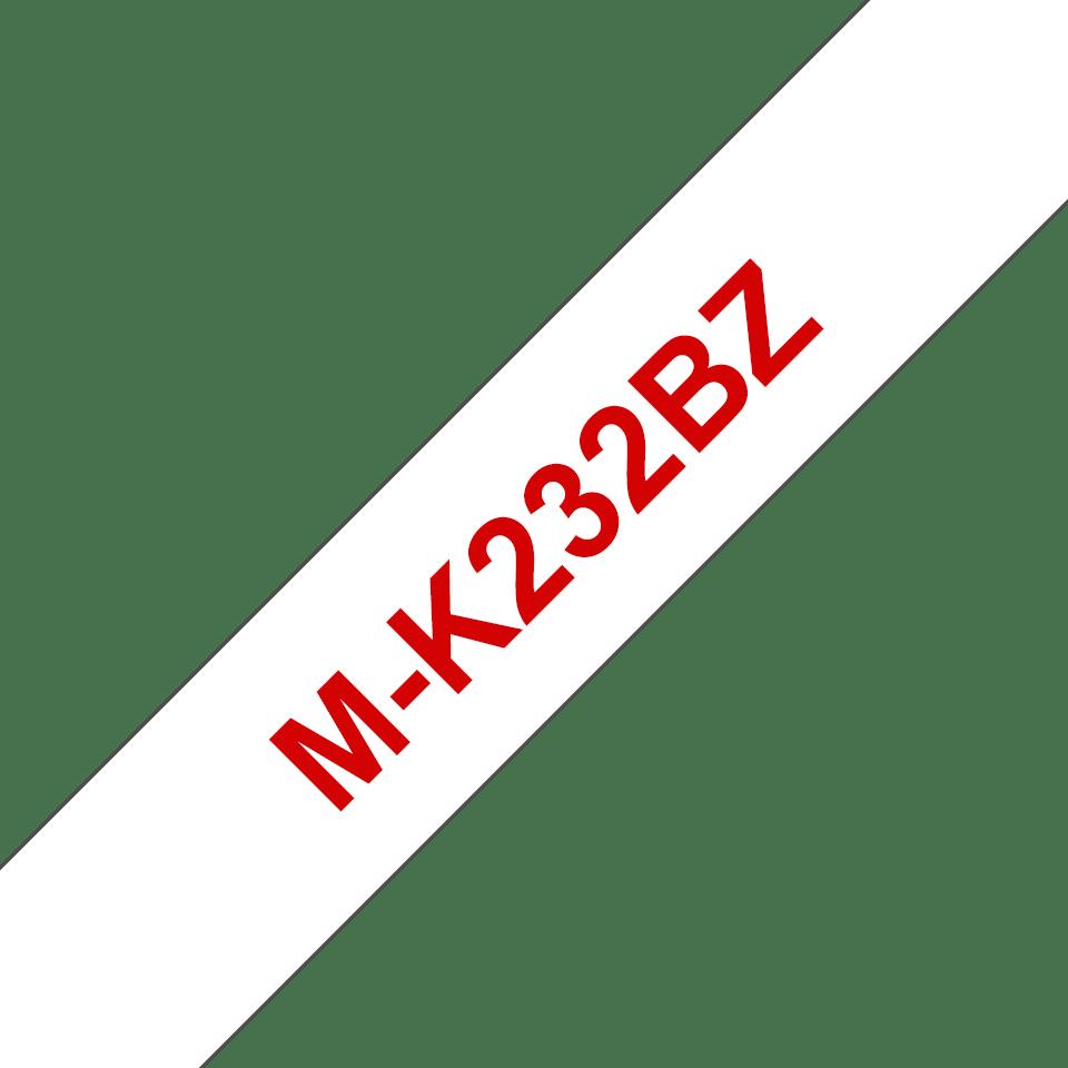 Brother MK232BZ original M-tape, röd på vit, 12 mm