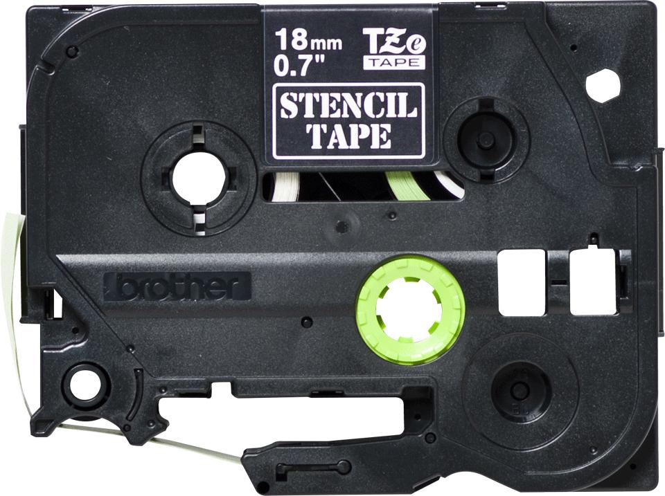 Brother STe141 original stenciltape, svart, 18 mm