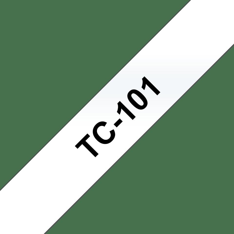 Brother original TC101 etikettape – svart på genomskinlig, 12 mm