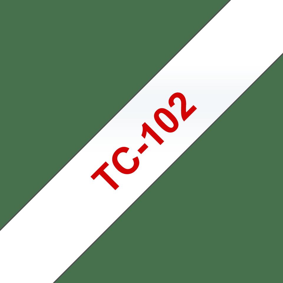 Brother original TC102 original etikettape – röd på genomskinlig, 12 mm