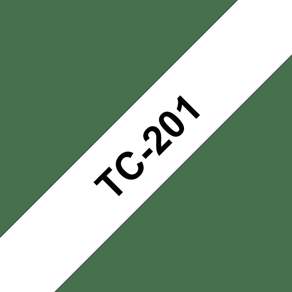 Brother original TC201 etikettape – svart på vit, 12 mm