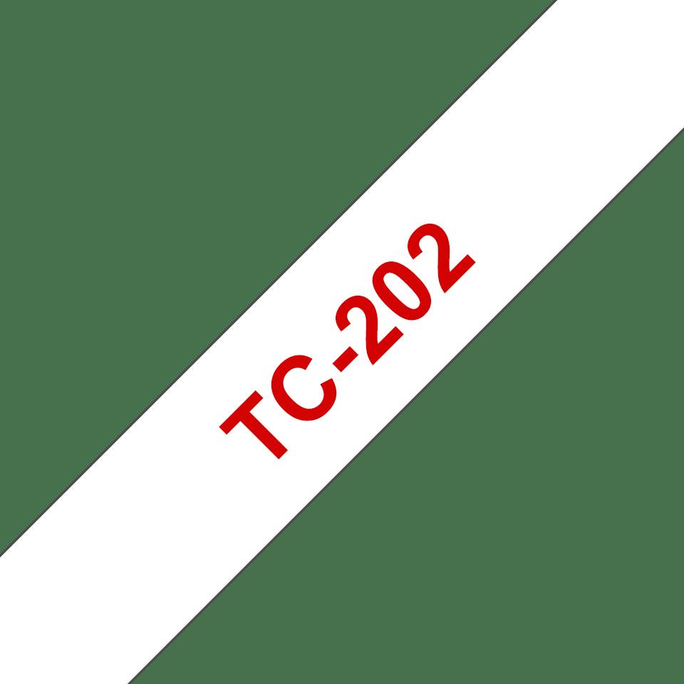 Brother original TC202 etikettape – röd på vit, 12 mm