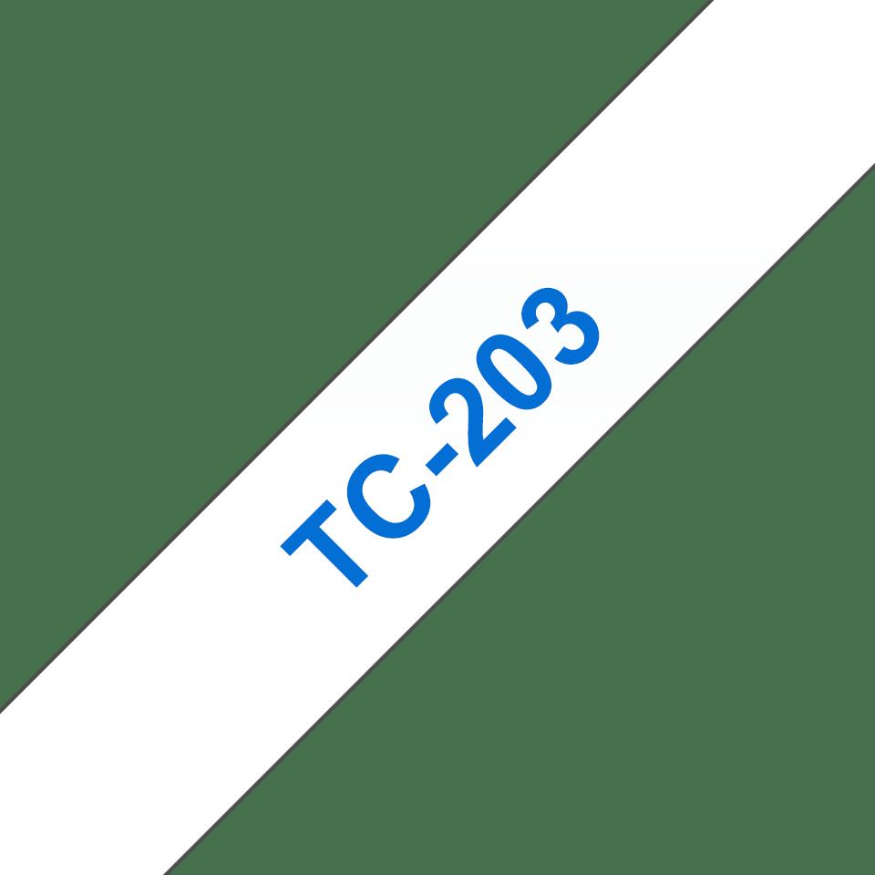 Brother original TC203 etikettape – blå på vit, 12 mm