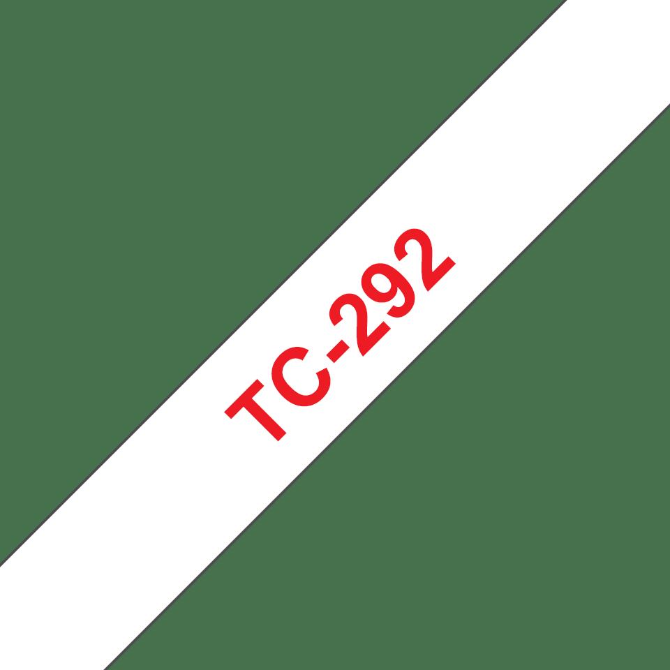 Brother original TC292 etikettape – röd på vit, 9 mm