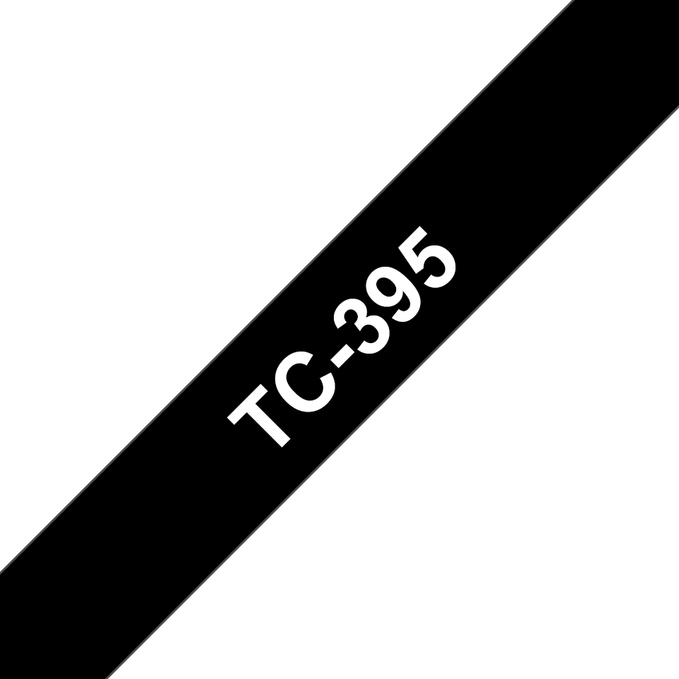 Brother original TC395 etikettape – vit på svart, 9 mm