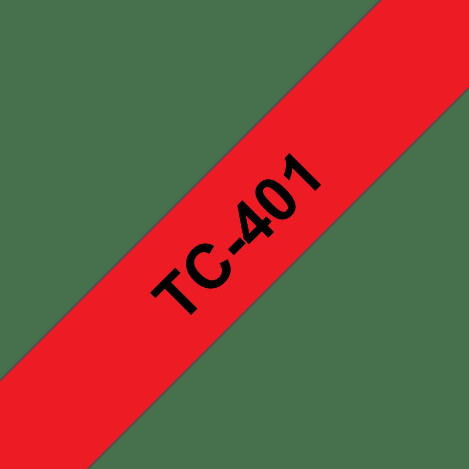 Brother original TC401 etikettape – svart på röd, 12 mm