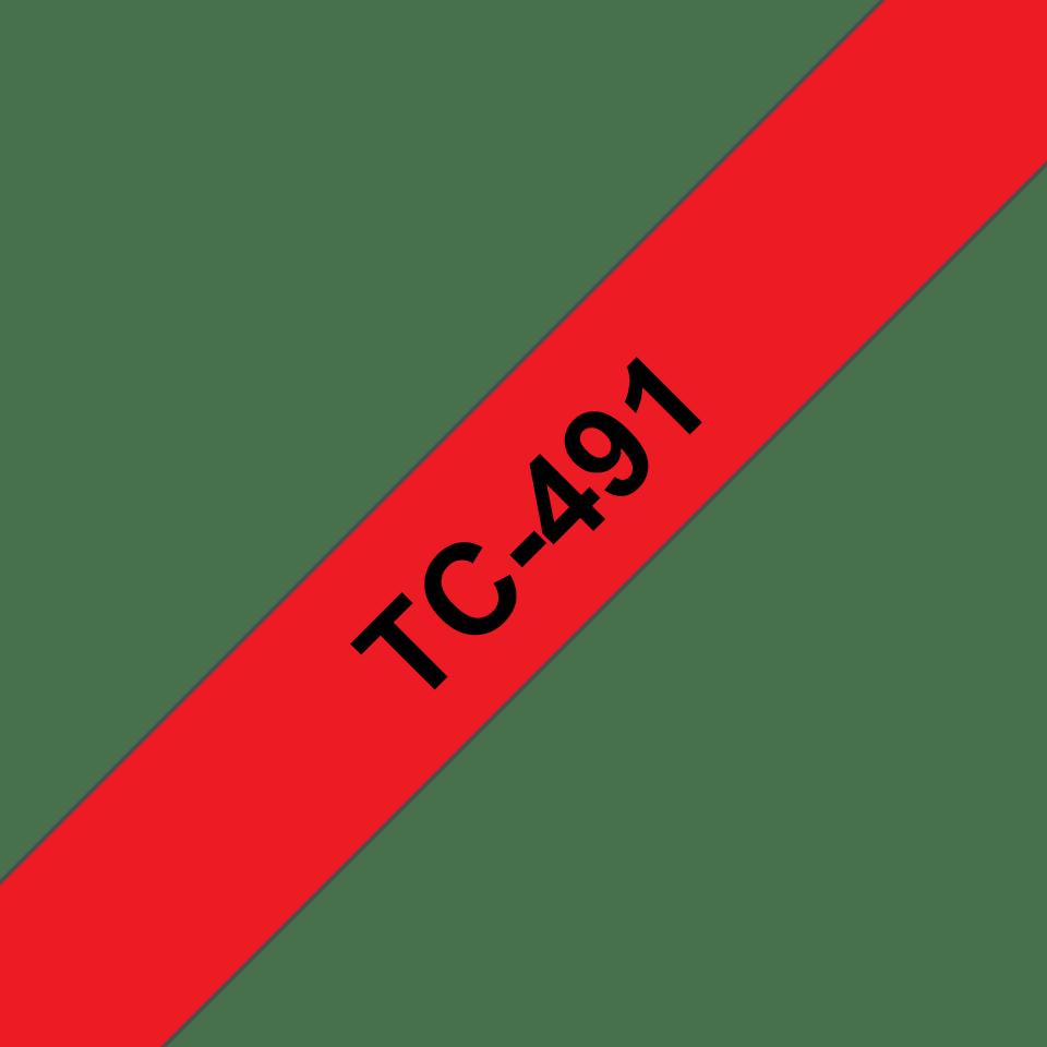 Brother original TC491 etikettape – svart på röd, 9 mm