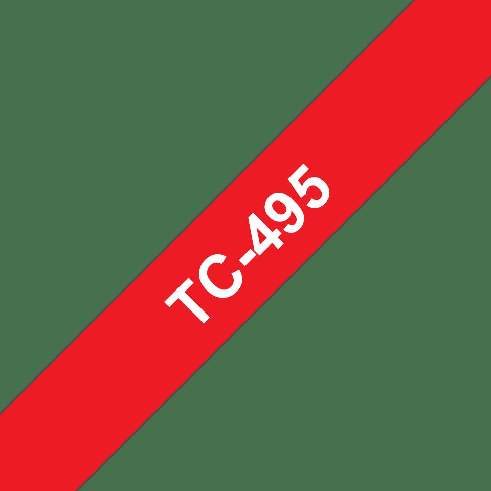 Brother original TC495 etikettape – vit på röd, 9 mm