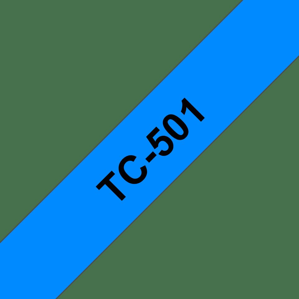 Brother original TC501 etikettape – svart på blå, 12 mm