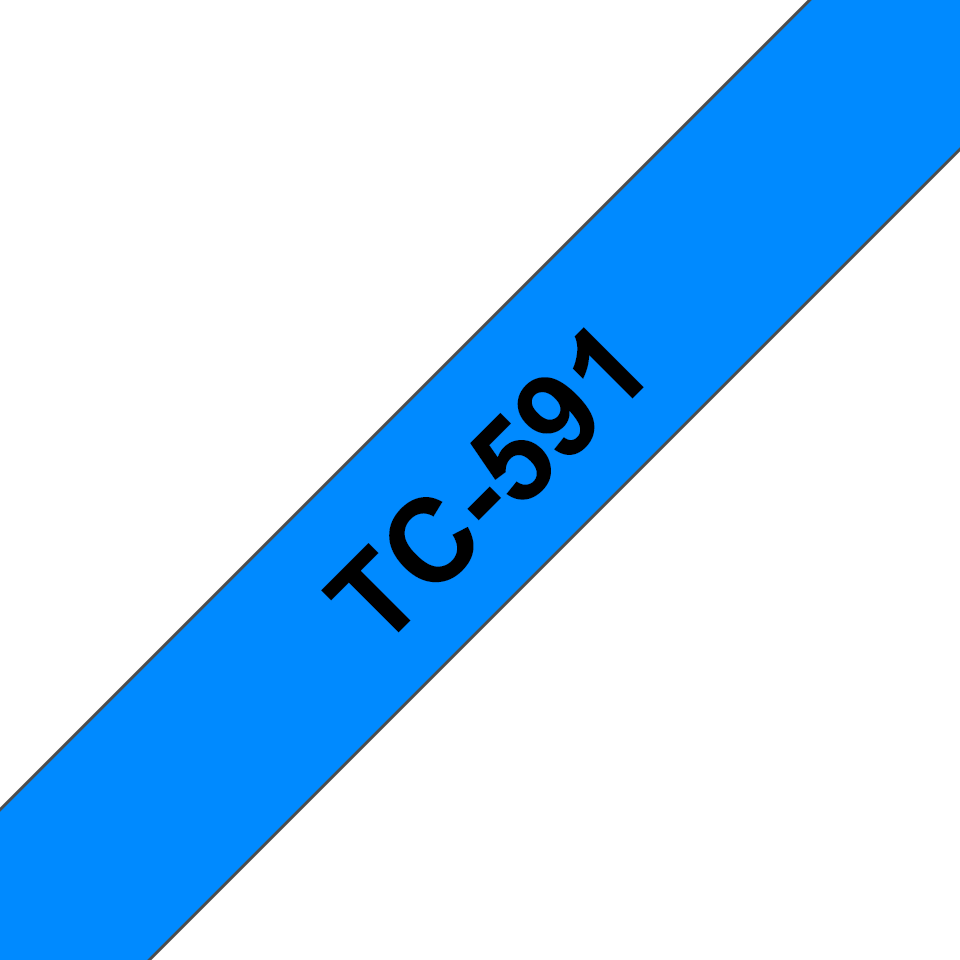 Brother original TC591 etikettape – svart på blå, 9 mm