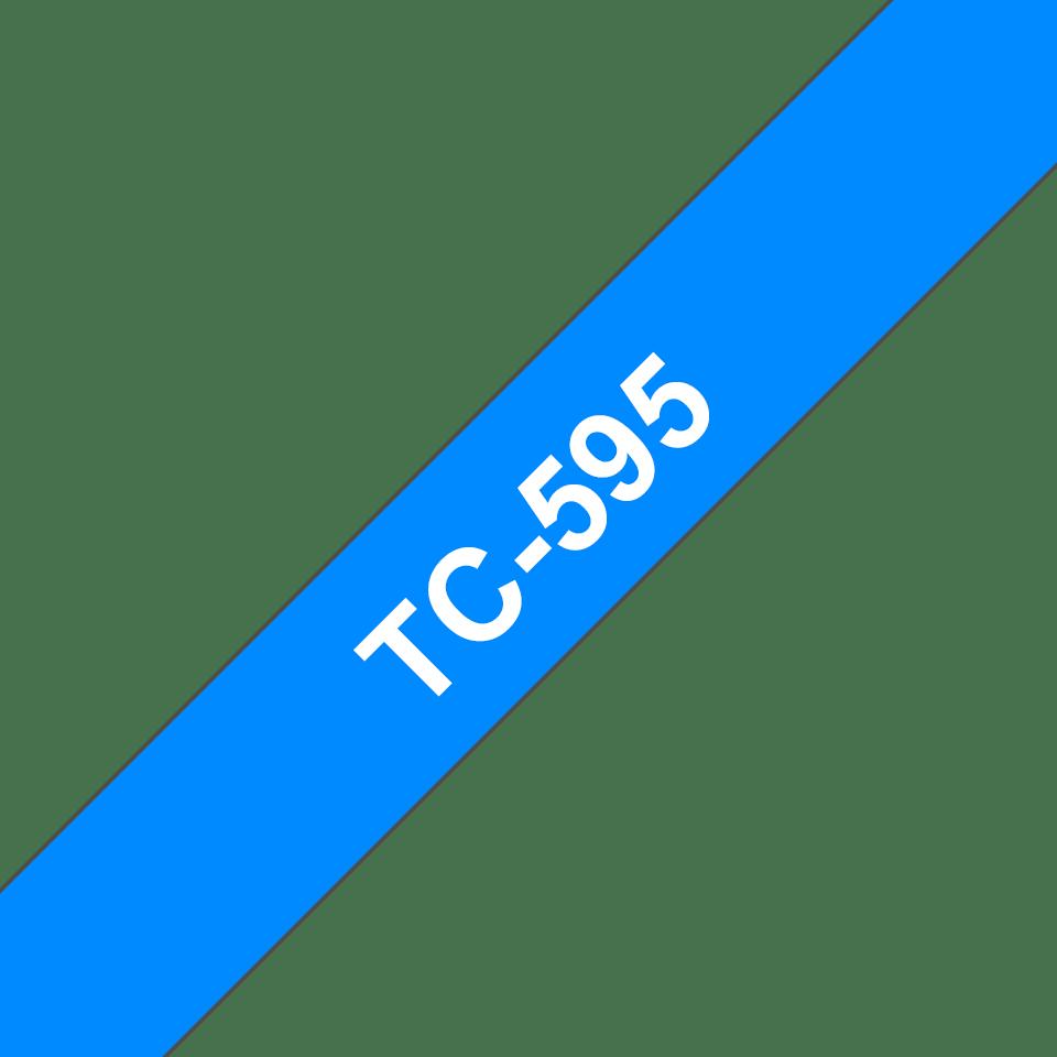Brother original TC595 etikettape – vit på blå, 9 mm