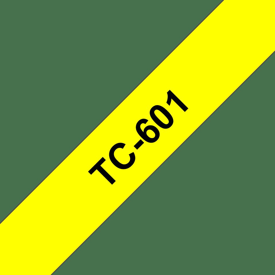 Brother original TC601 etikattape, svart på gul, 12 mm