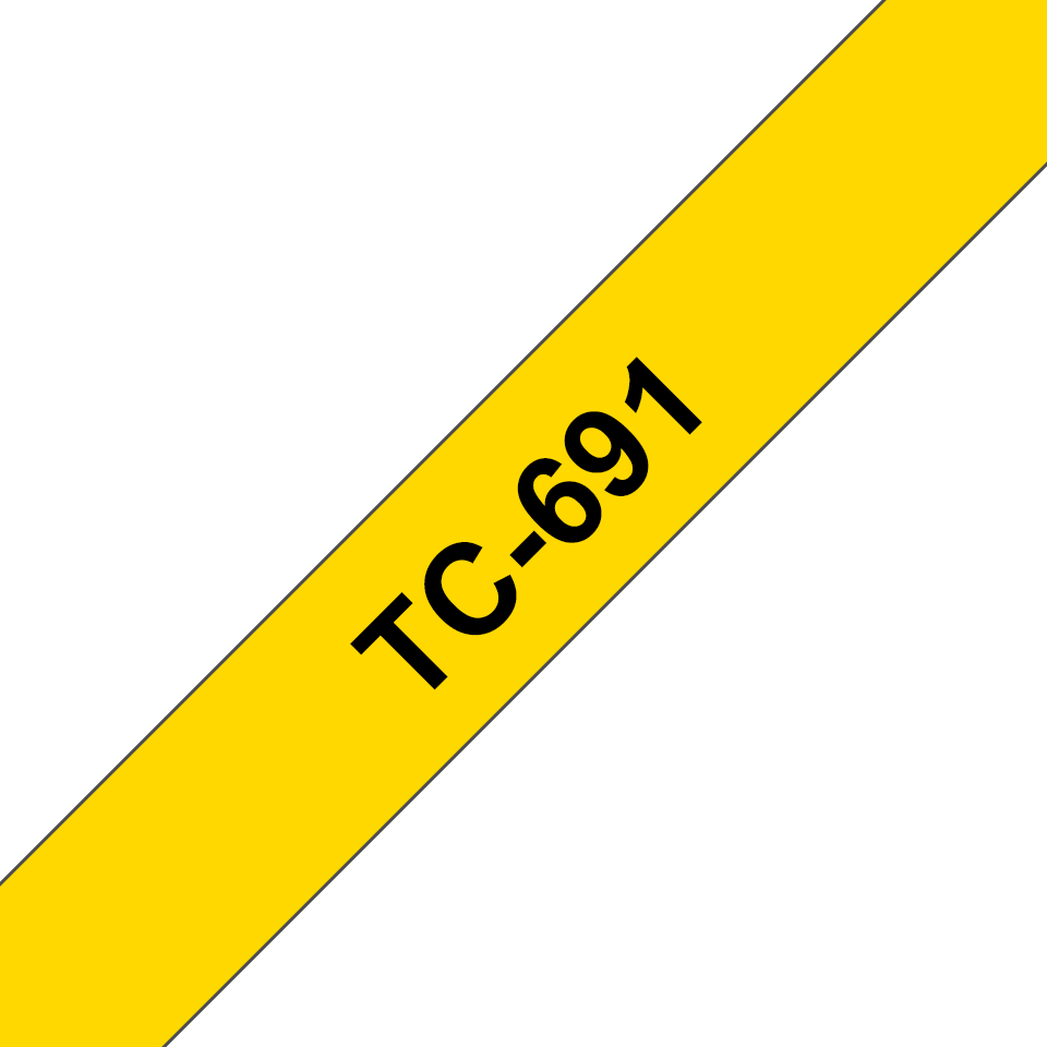 Brother original TC691 etikettape, svart på gul, 9 mm