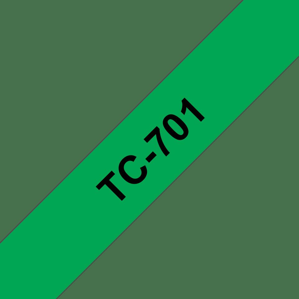 Brother original TC701 etikettape, svart på grön, 12 mm