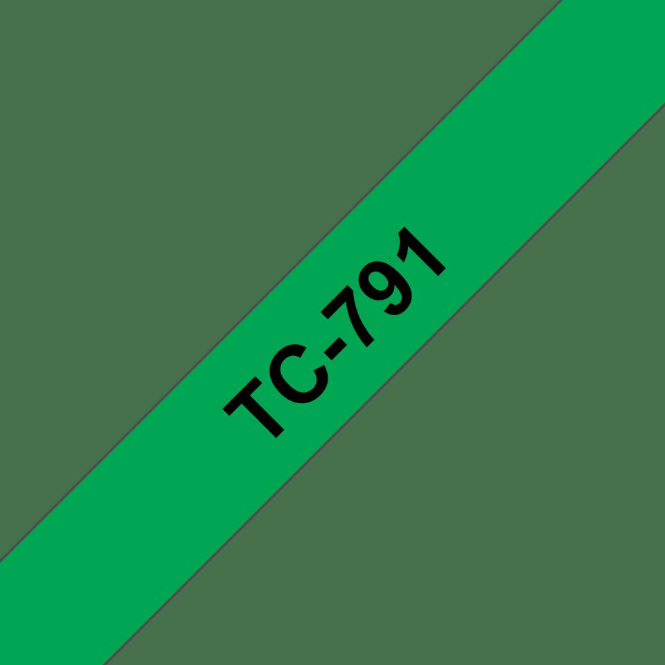 Brother original TC791 etikettape, svart på grön, 9 mm