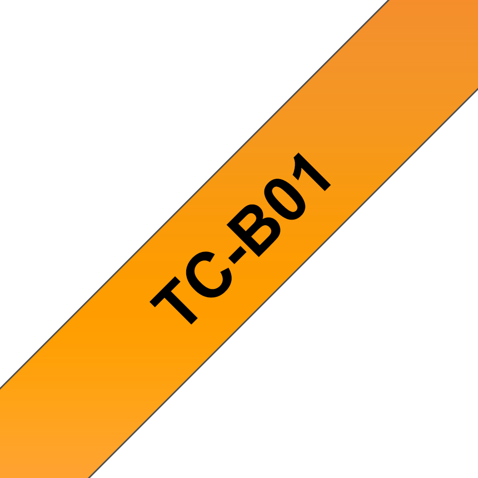 Brother original TCB01 fluorescerande tape – svart på orange, 12 mm