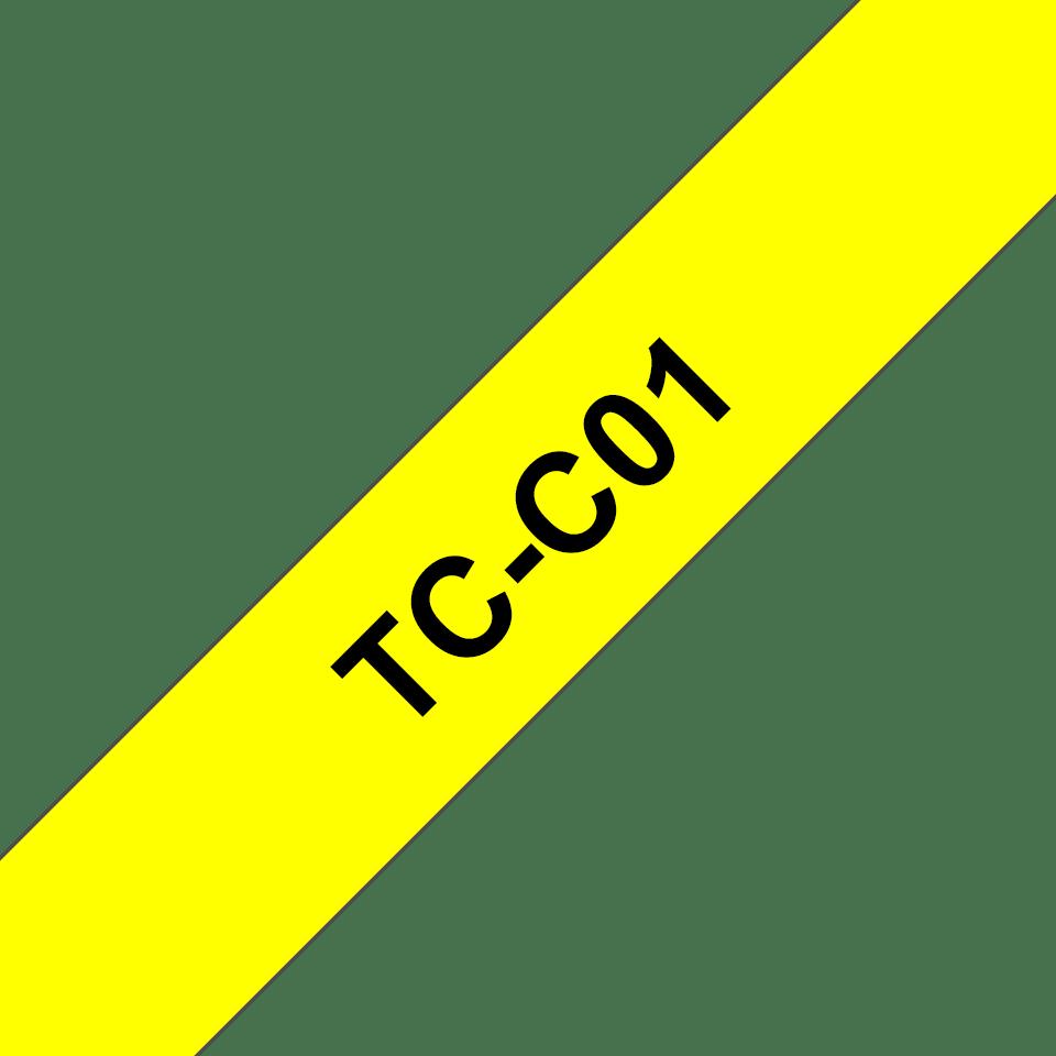 Brother original TCC01 etikettape, svart på gul fluorescerande, 12 mm