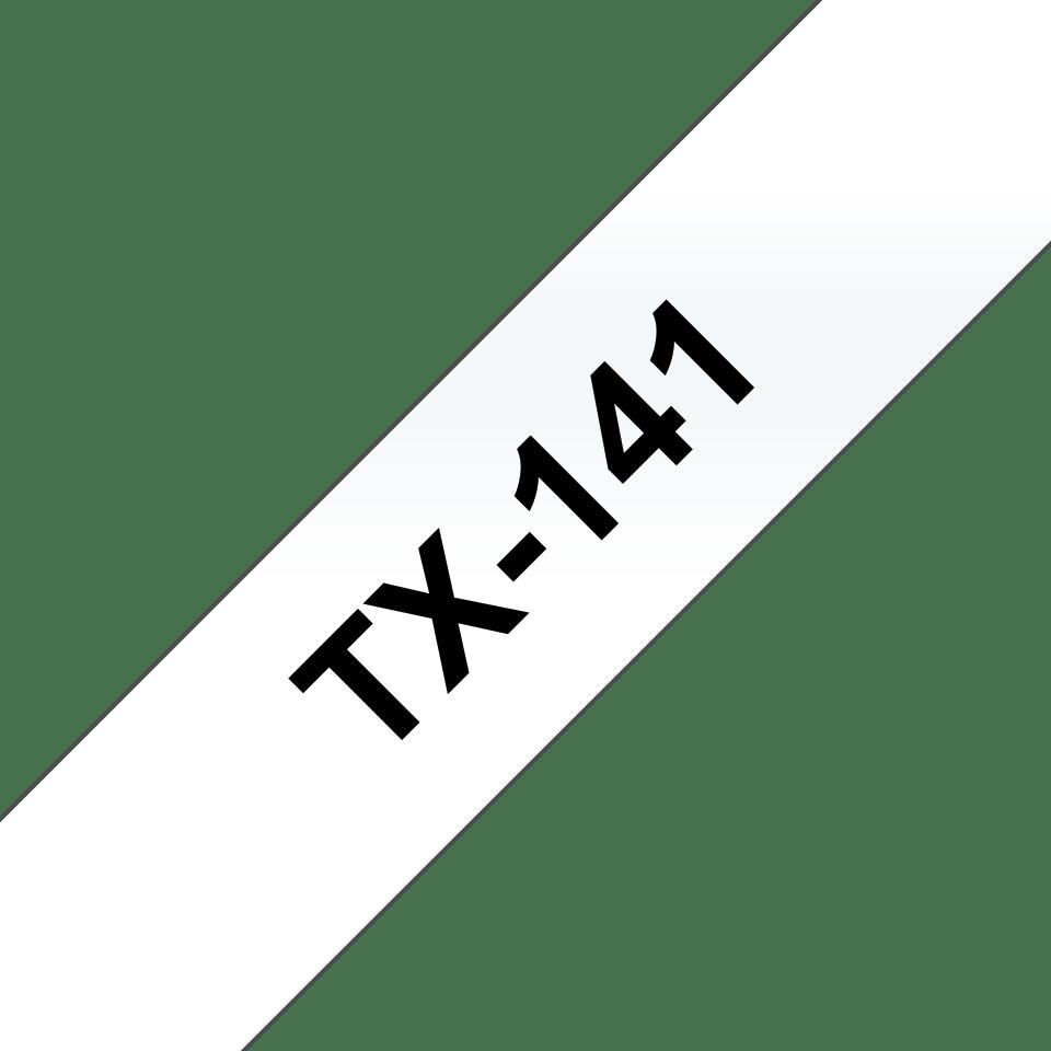 Brother TX141 original etikettape, svart på genomskinlig, 18 mm