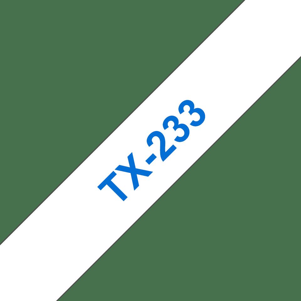 Brother original TX233 etikettape, blå på vit, 12 mm