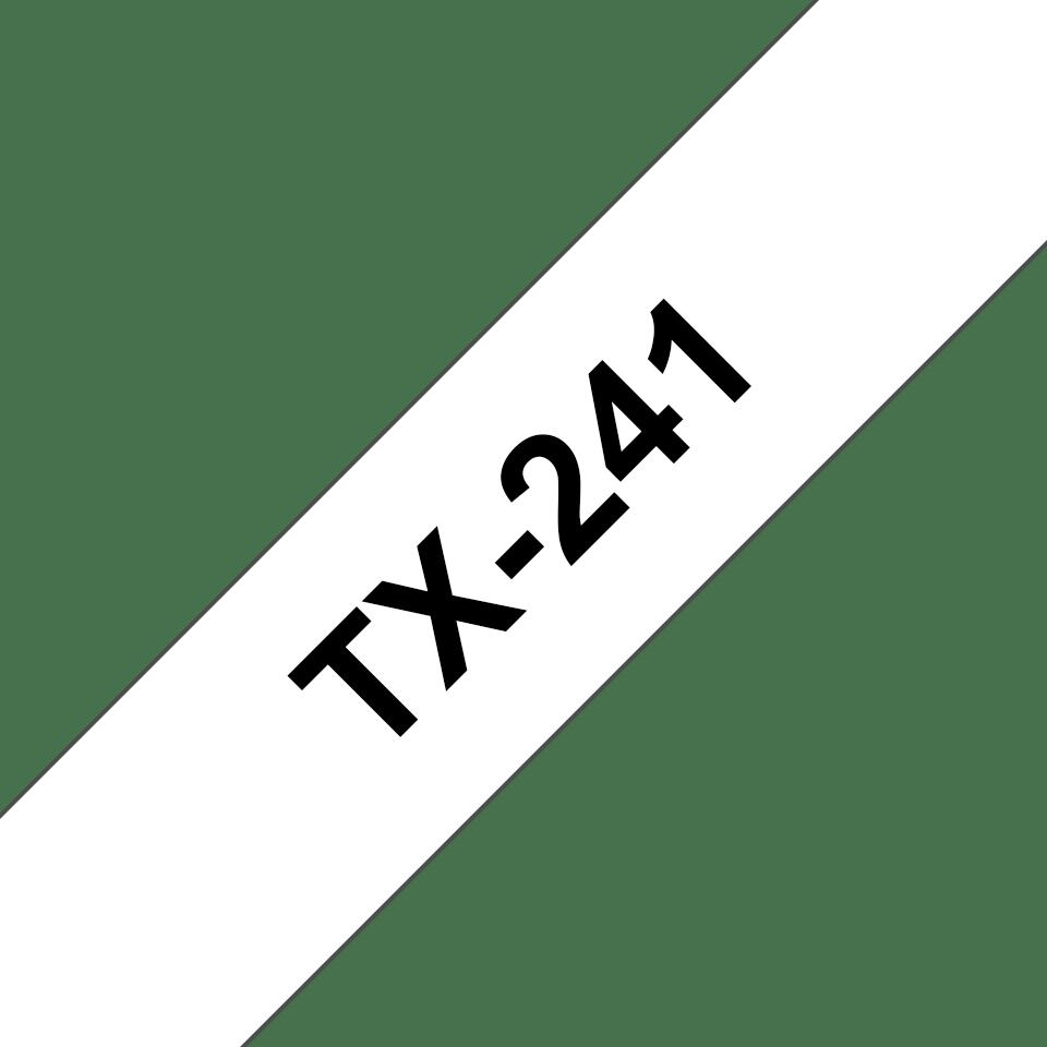 Brother TX-241 original etikettape, svart på vit, 18 mm