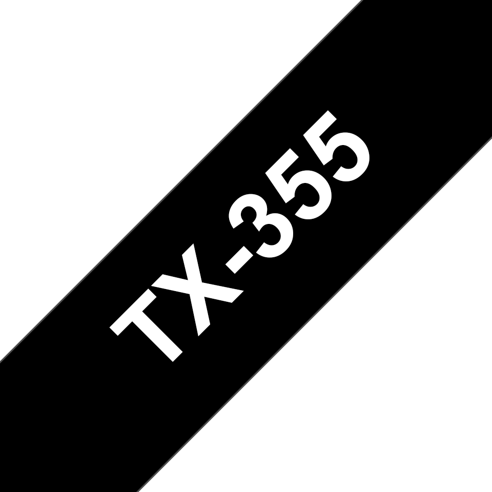 Brother TX355 original etikettape, vit på svart, 24 mm bred