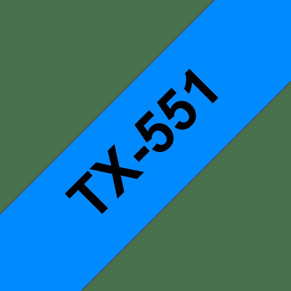 Brother TX551 original etikettape, svart på blå, 24 mm