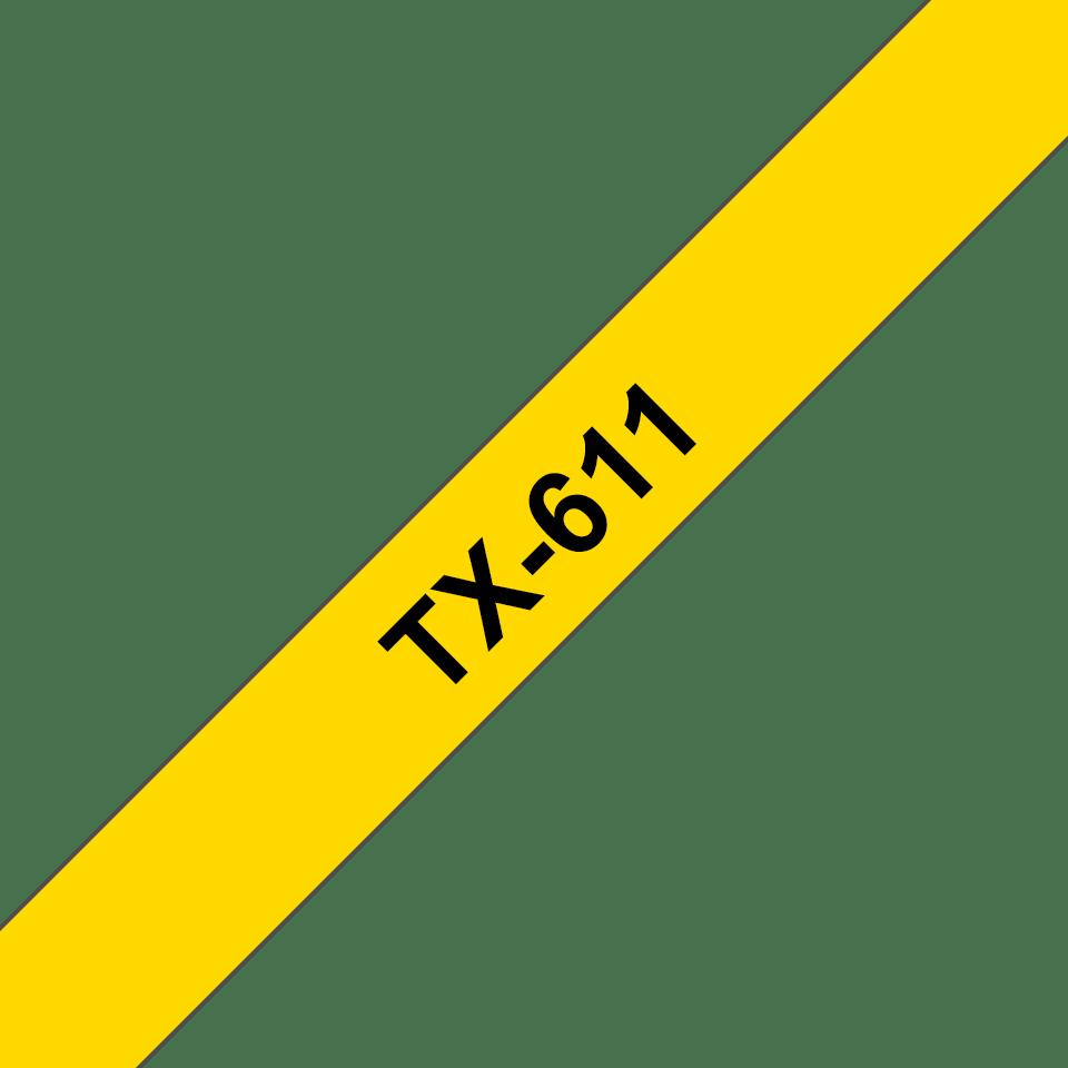 Brother TX-611 original etikettape- svart på gul, 6 mm bred