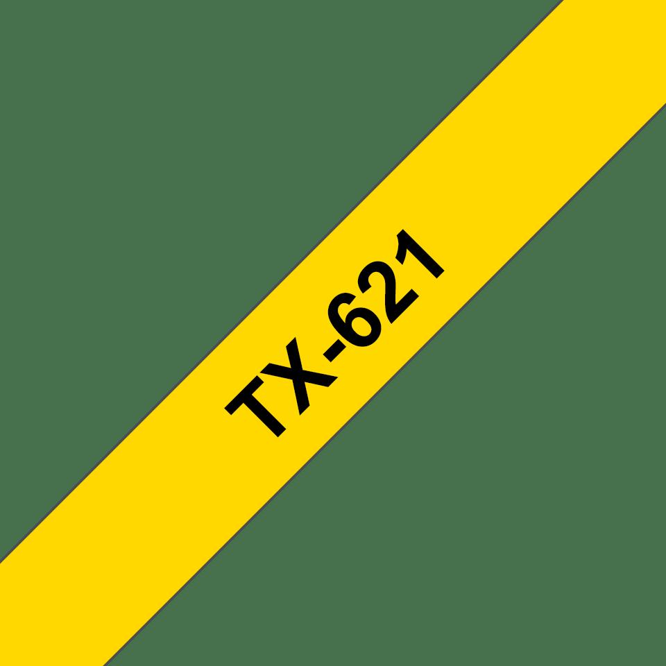 Brother TX621 original etikettape, svart på gul, 9 mm bred