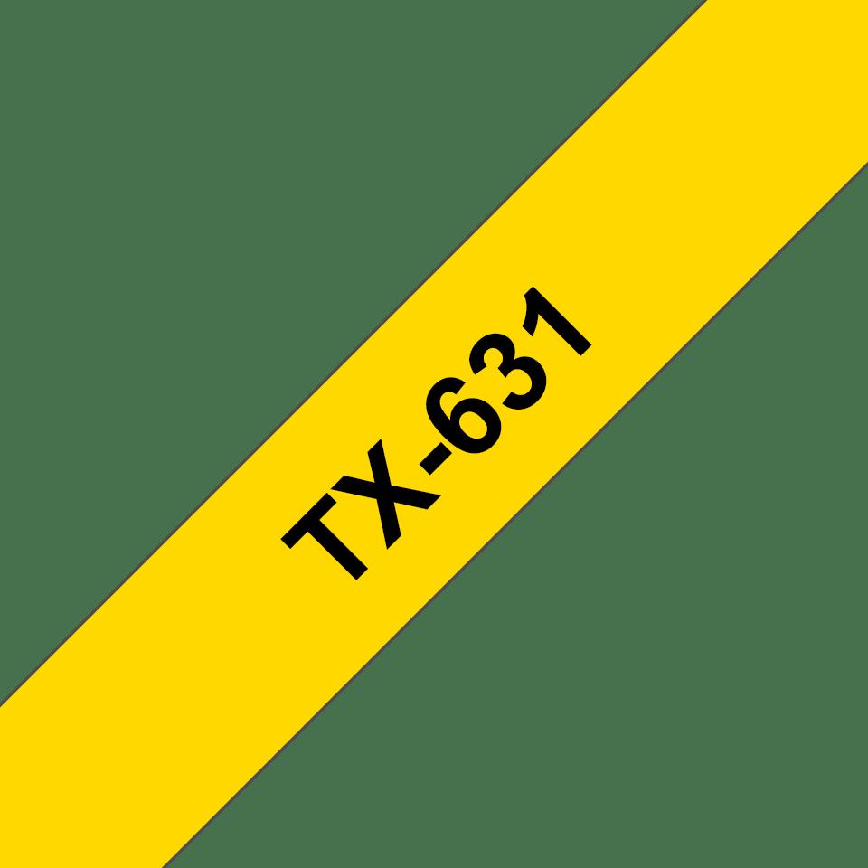 Brother TX631 original etikettape svart på gul, 12 mm