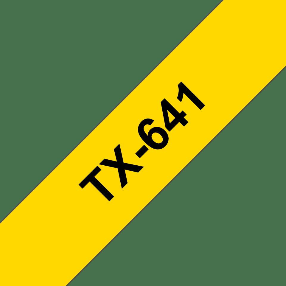 Brother TX641 original etikettape svart på gul, 18 mm bred