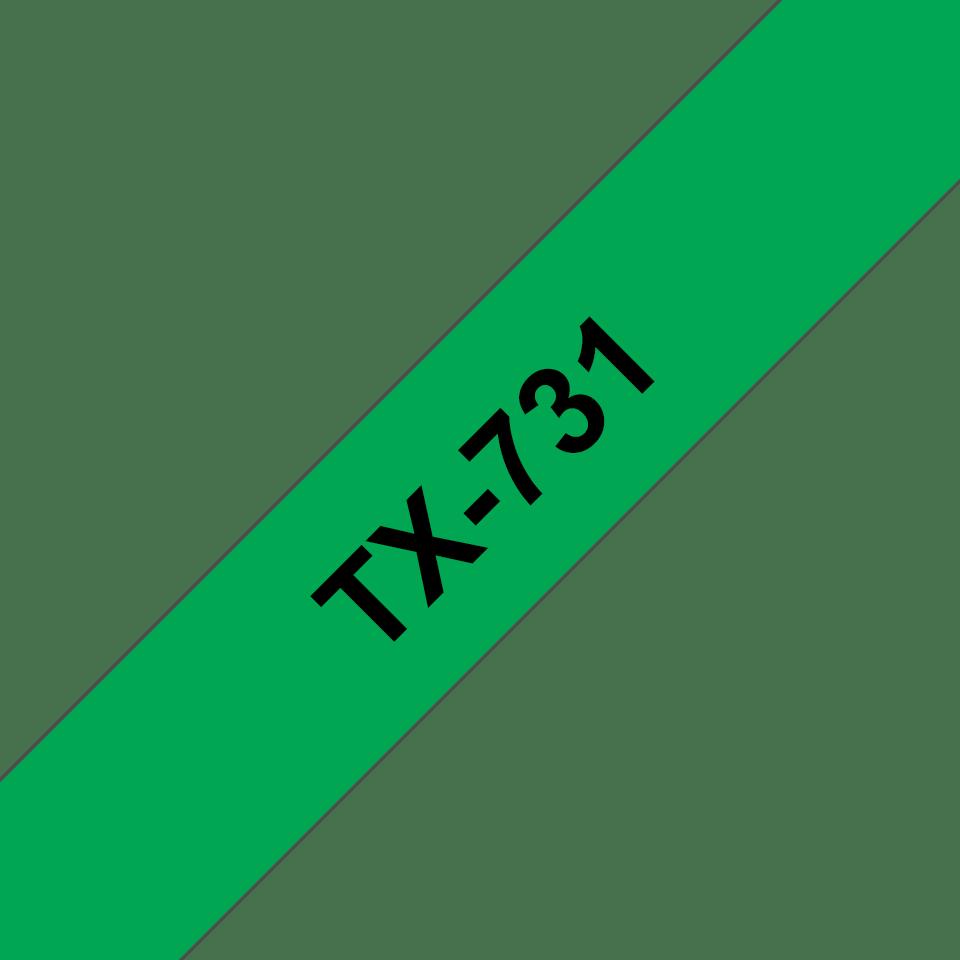 Brother TX731 original etikettape, svart på grön, 12 mm