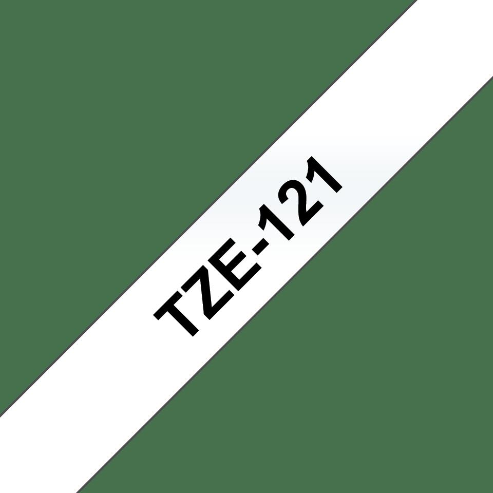 Brother TZe121 original etikettape, svart på genomskinlig, 9 mm  3