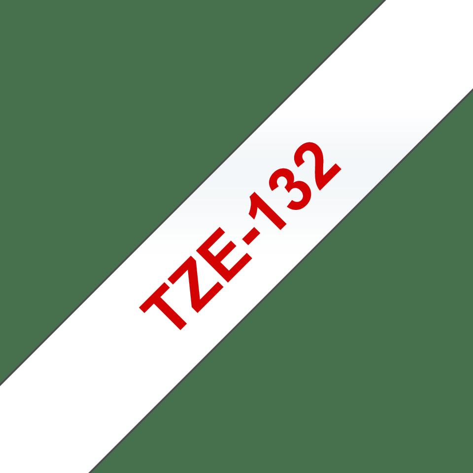 Brother TZe132 original etikettape, röd på genomskinlig, 12 mm  3