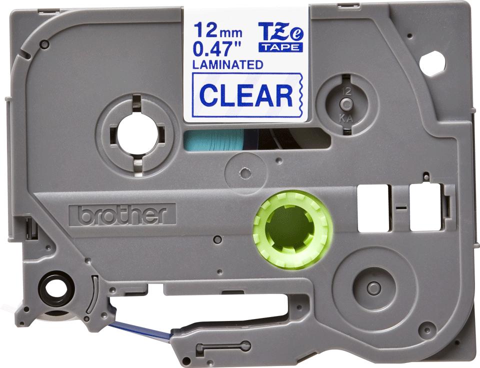 Brother TZe133 original etikettape blå på genomskinlig, 12 mm.