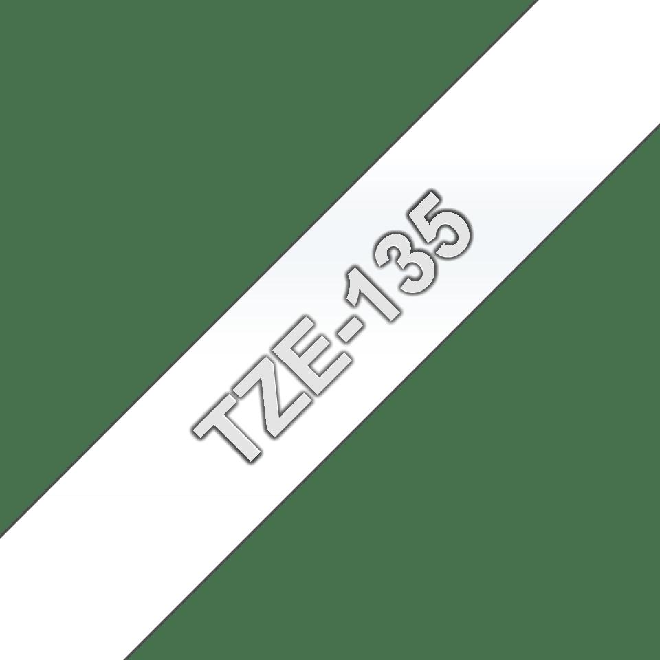 Brother TZe135 original etikettape, vit på genomskinlig, 12 mm  3