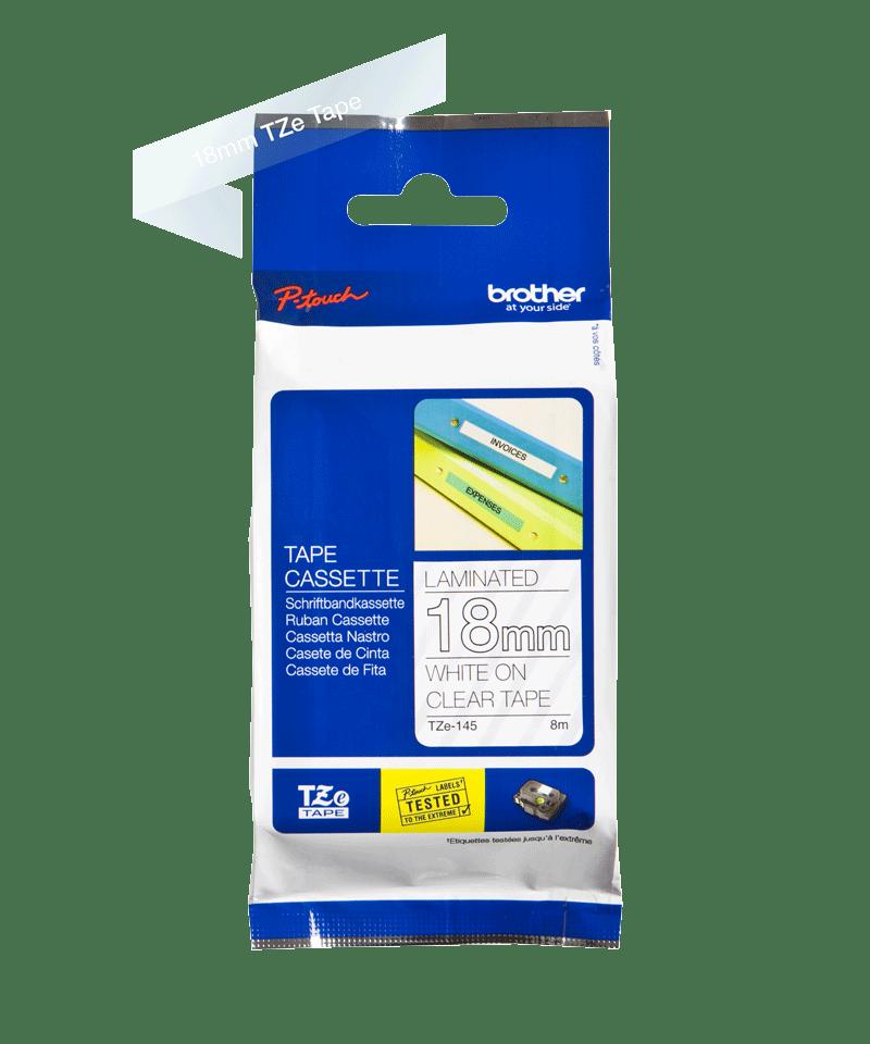 Brother TZe145original etikettape, vit på genomskinlig, 18 mm  2
