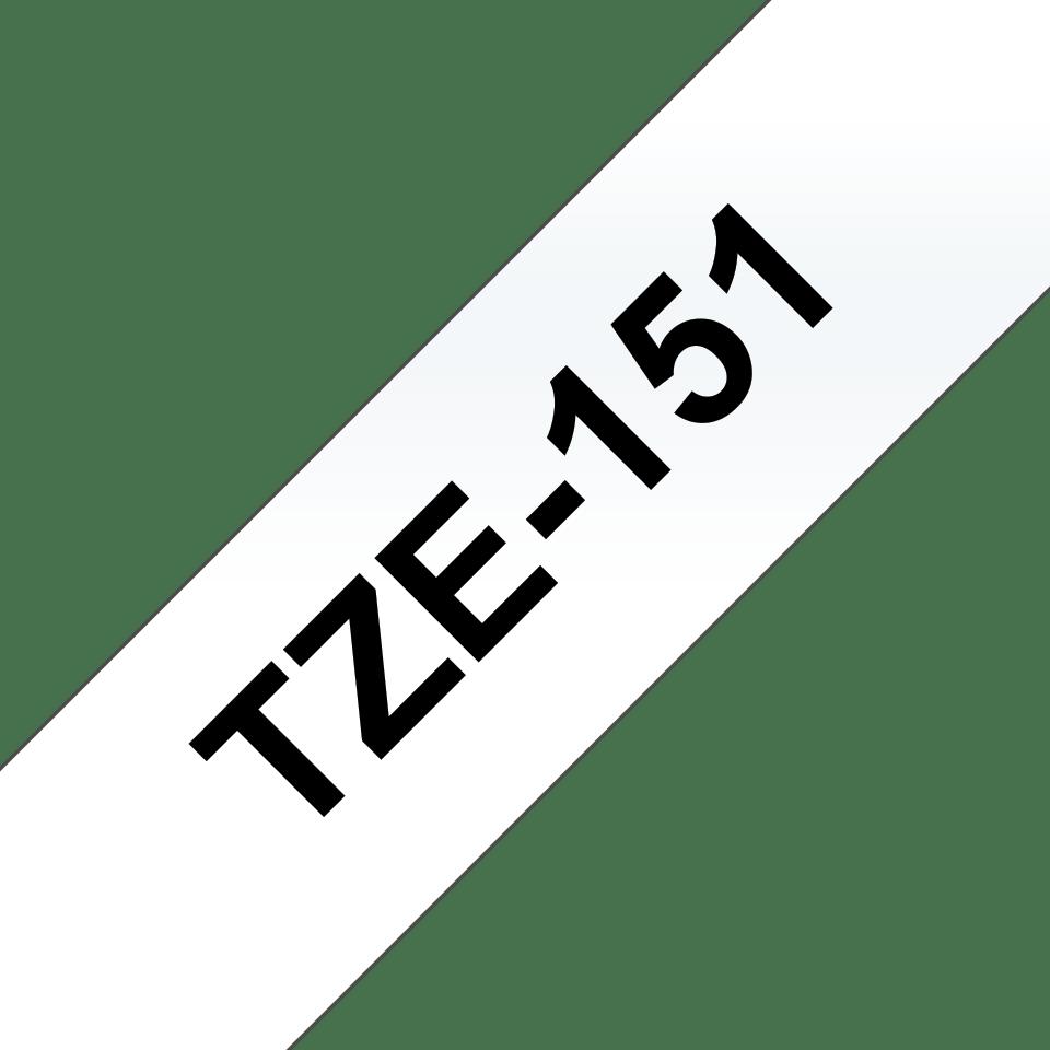 Brother TZe151 original etikettape, svart på gemomskinlig, 24 mm  3