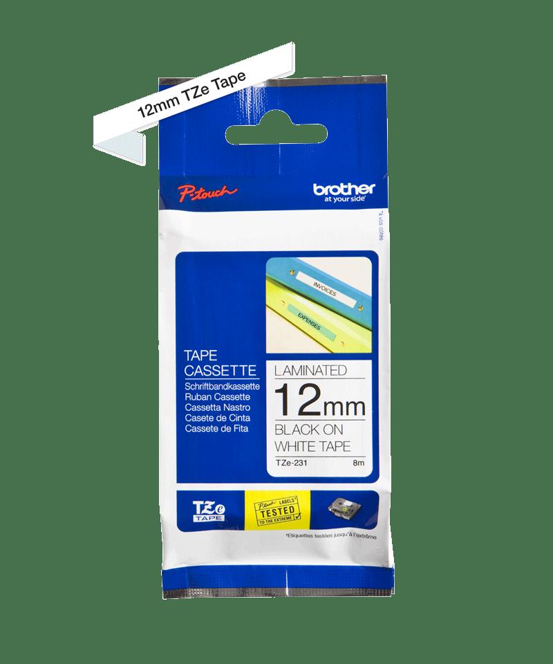 Brother TZE-231 original etikett tapekassett- Svart på vit laminerad tape, 12 mm bred 2