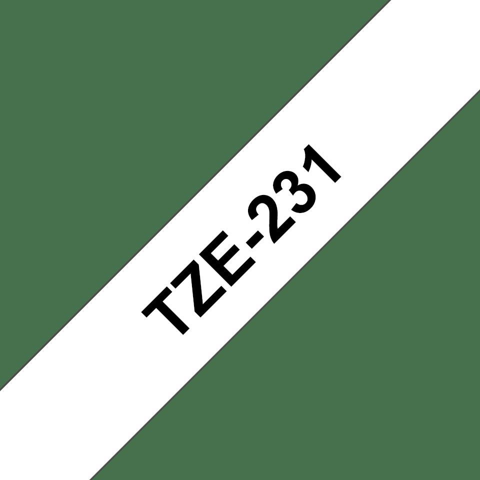Brother TZE-231 original etikett tapekassett- Svart på vit laminerad tape, 12 mm bred 3