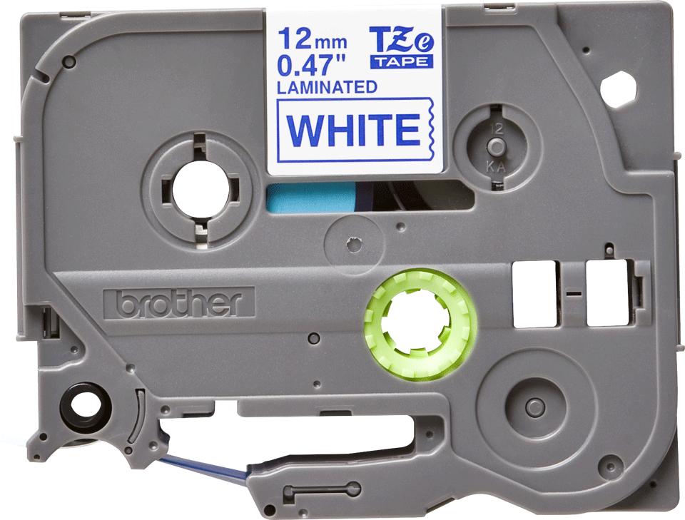 Brother original TZe233 etikettape – blå på vit, 12 mm