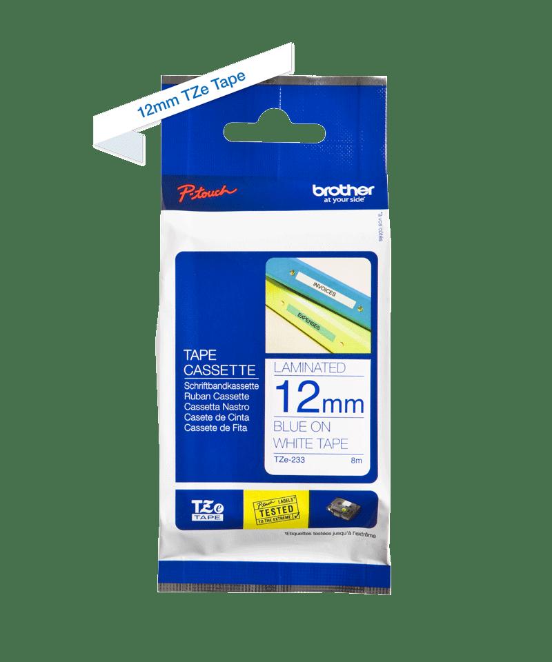 Brother original TZe233 etikettape – blå på vit, 12 mm  2