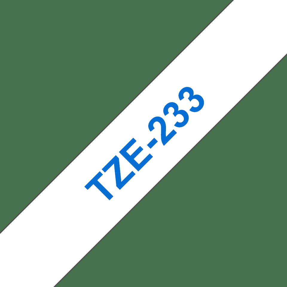 Brother original TZe233 etikettape – blå på vit, 12 mm  3